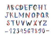 Creative latin font or english alphabet hand drawn on white background. Colorful textured letters arranged in. Alphabetical order and figures decorated with royalty free illustration