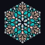 Creative layout of jewelry. The mandala is made of different gemstones on black. Background royalty free illustration