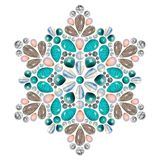 Creative layout of jewelry. The mandala is made of different gemstones on white. Background vector illustration