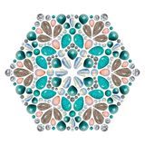 Creative layout of jewelry. The mandala is made of different gemstones on white. Background royalty free illustration