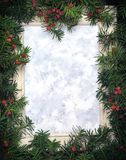 Creative layout made from Christmas tree branches with red berries and frame paper card note. Copy space for text. Flat lay. stock illustration
