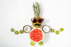 Creative layout made of funny pineapple with sunglasses and frui Stock Images