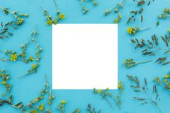 Creative layout made of wild flowers and leaves with paper card note. Flat lay. Nature concept stock photo