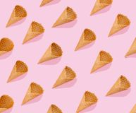 Creative layout - pattern made with ice cream cones stock photos