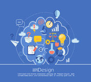 Creative left and right brain Idea infographic. Creative left brain and right brain Idea infographic in line style with flat set business icon, vector vector illustration