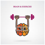 Creative left and right brain sign with the barbell on background