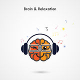 Creative left and right brain sign with the headphone on backgro Royalty Free Stock Photo