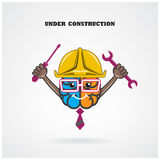 Creative left and right brain sign under construction with Royalty Free Stock Photo