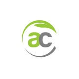 Creative letter AC with circle green leaf logo Stock Photography