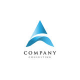 Creative letter A logo. Letter A flow logo design, letter A blue logo, elegant letter A vector concept Royalty Free Stock Image