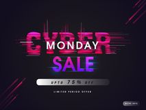 Creative lettering of Cyber Monday sale with 75% discount offer. And abstract elements on black background vector illustration