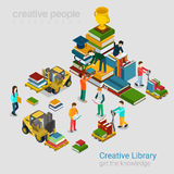 Creative library education knowledge books flat 3d isometric. Flat 3d isometric creative library education knowledge concept web infographics vector illustration Royalty Free Stock Photos