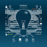 Creative light bulb abstract circuit technology infographic.vect Stock Photography