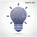 Creative light bulb and brain concept Stock Images