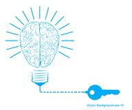 Creative light bulb and brain, idea concept with Key symbol. Vector illustration stock illustration