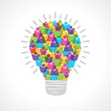 Creative light-bulb of colorful male and female icon Stock Images
