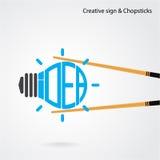 Creative light bulb concept and chopsticks symbol , design for p Stock Photography