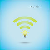 Creative light bulb concept and wifi sign. Education, technology and business background. Vector illustration Stock Photo