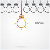 Creative light bulb difference idea concept background. Design for poster,flyer ,cover, brochure ,business idea ,abstract background.vector illustration Stock Image