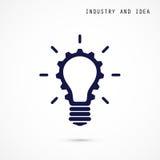 Creative light bulb and gear abstract vector design banner templ Stock Photos
