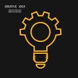 Creative light bulb with gear concept , idea concept. Stock Photography