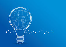 Creative Light Bulb With Global Design. On Blue Background Stock Images