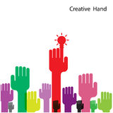 Creative light bulb and hand icon abstract vector design. Stock Photo