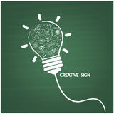 Creative light bulb handwriting style on blackboard with busines Royalty Free Stock Photo