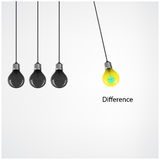 Creative light bulb Idea concept background,difference concept. Royalty Free Stock Photos