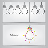 Creative light bulb Idea concept banner background. Differen ban Stock Photography