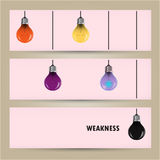 Creative light bulb Idea concept banner background. Difference a. Nd weakness concept. Vector illustration Stock Photos