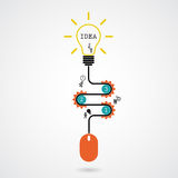Creative light bulb idea concept and computer mouse symbol. Prog. Ression of idea concept. Business, education and industrial idea. Vector illustration Royalty Free Illustration