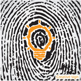 Creative light bulb idea concept with fingerprint symbol. Educat Stock Photography