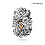 Creative light bulb idea concept with fingerprint symbol Stock Photos