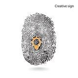 Creative light bulb idea concept with fingerprint symbol Stock Photos