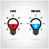 Creative light bulb idea concept with padlock symbol. Security s Royalty Free Stock Photo