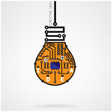 Creative light bulb idea concept template ,light bulb circuit sy Royalty Free Stock Images