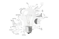 Creative light bulb idea with drawing business success strategy Royalty Free Stock Photography