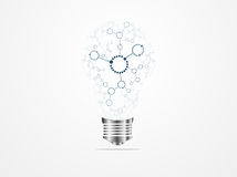 Creative light bulb idea molecules Royalty Free Stock Images