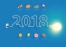 Creative light bulb idea with 2018 new year. Design, Inspiration business plan, marketing strategy, teamwork, brainstorm ideas concept, Vector illustration Stock Photos