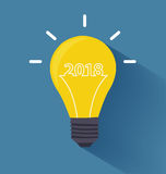 Creative light bulb idea with 2018 new year Royalty Free Stock Photo