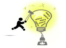 Creative light bulb ideas concept. Man silhouette hitting light bulb filled with ideas Stock Photography