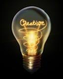 Creative light bulb. Isolated on black background Royalty Free Stock Image