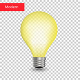 Creative light bulb isolated transparent. Vector realistic Stock Photography