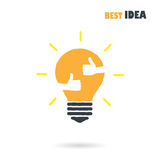 Creative Light Bulb Logo Design Vector Template With Small Hand. Royalty Free Stock Photography
