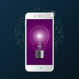 Creative light bulb with phone and icons. Vector Stock Photo
