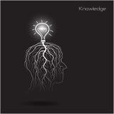 Creative light bulb shoot grow on human head symbol. Education a Stock Photo