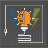 Creative light bulb sign. Creative light bulb,saving sign,ideas concepts,business background. illustration Stock Photo