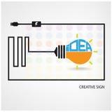 Creative light bulb symbol. Saving sign,ideas concepts,business background.vector illustration Stock Photos