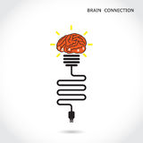 Creative light bulb symbol and brain connection sign. Business a Royalty Free Stock Photos